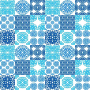 Moroccan tiles ornaments in blue and white colors