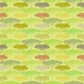 Stylized abstract autumn tree illustration