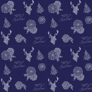 Blue Holiday Paper - succulents , deer, flowers