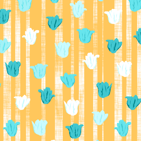 Teal & Gold Textured Tulip Stripes