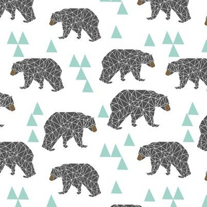 bear // mint and grey charcoal nursery kids bear triangles boys baby boy nursery kids design