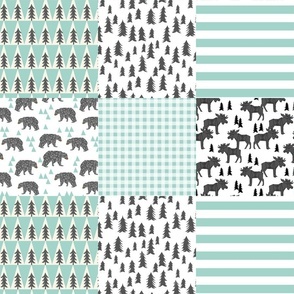 moose quilt squares // moose antler trees forest bear triangles mint charcoal grey kids baby nursery bedding quilt