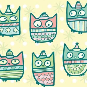 sweater owls in warm tones