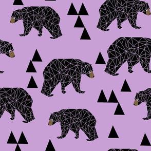 geometric bear // lilac pastel purple triangles girly woodland bear design for edgy kids illustration pattern