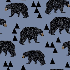 geometric bear // stonewash blue bear with triangles for nursery decor and baby boy fabrics