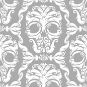 Scrollwork Skulls - gray