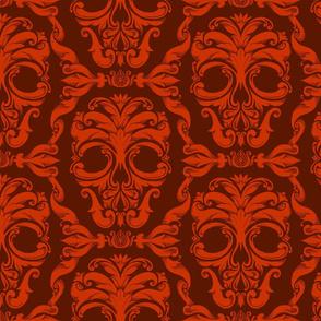 Scrollwork Skulls - red