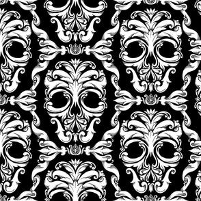 Scrollwork Skulls - black