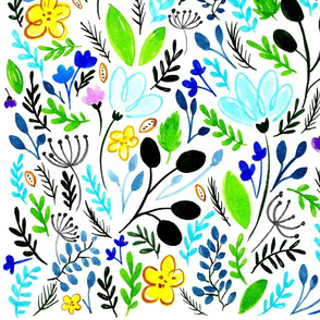 Floral Spring Hipster Pattern on White