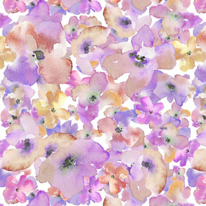 Purple and Gold Watercolor Flowers