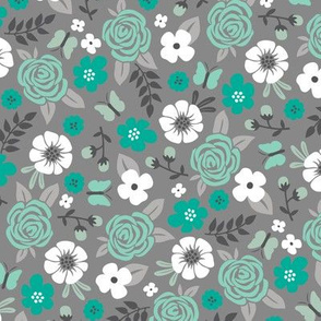 Flowers and Roses Floral in Mint Green on Grey
