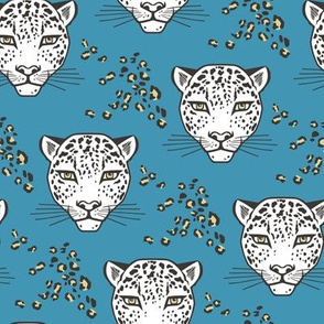 Leopard Head  Big Cat Cats Blue