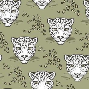Leopard Head  Big Cat Cats Green
