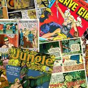 vintage comic book jungle - LARGE PRINT