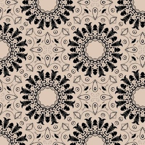 Black and Tan Mandala Floral