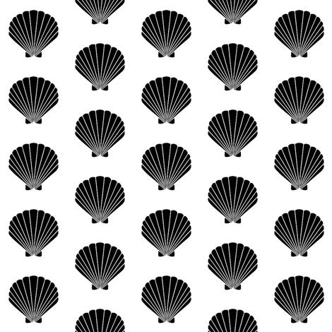 Seashell beach seashell vintage retro black and white kids for Black and white childrens fabric