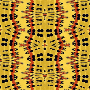 Spikey Modern Abstract in Yellow and Mustard