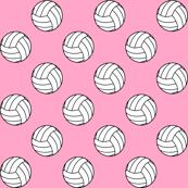 Black and White Sports Volleyball Balls on Carnation Pink