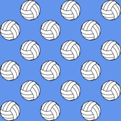 Black and White Sports Volleyball Balls on Cornflower Blue