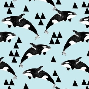orca whale // whales ocean orcas pastel blue baby boy blue cute nursery print ocean animal andrea lauren