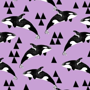 orca whale // pastel purple lilac lavender orcas triangles kids summer print