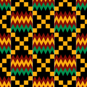 Yellow, Green, Red, with White Stripes on Black, Kente Cloth
