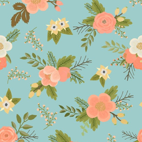 Sweet Bouquets in Aqua and Peach