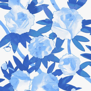 Chinoiserie Peonies in Blue