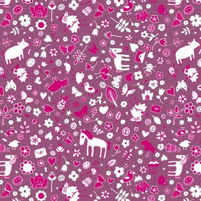 Pigs and Ponies Ditsy - Pink and White