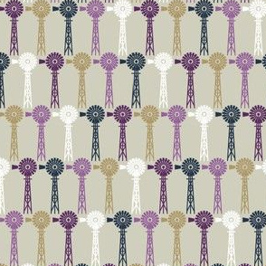 Autumn Plum Windmills - Beige