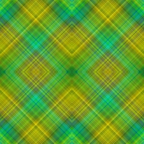 GREEN SPRING GRASS DIAGONAL PLAID