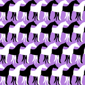Black and White Overlapping Horses on Lavender Purple