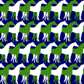 Green and White Overlapping Horses on Navy Blue