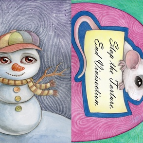 Snowman and anti-vivisection rat
