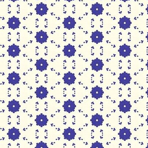 Very Tiny Floral in Blue and White
