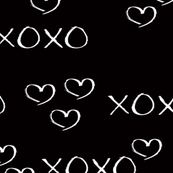 xoxo love sweet hearts and kisses print for lovers wedding and valentine in black and white