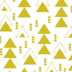 geometric teepee woodland tree abstract triangle forest in mustard gender neutral yellow