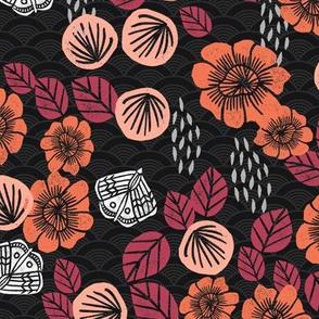 butterfly garden // fall autumn flowers wiliam morris inspired block print linocut original flowers floral butterflies
