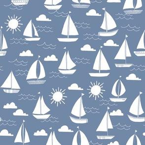 sailboats // nautical ocean sailing boats summer preppy blue