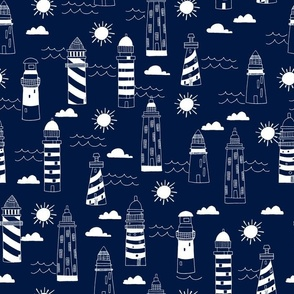 lighthouses // navy nautical summer ocean water print
