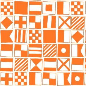 sailing flags // nautical flag ocean water summer orange preppy