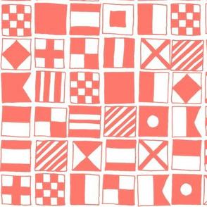 sailing flags // coral pink summer nautical ocean sailing print