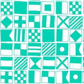 sailing flags // nautical ocean green sea preppy water