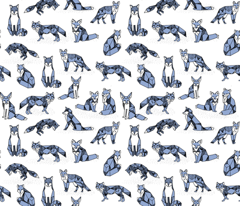 fox // periwinkle pastel blue purple cute foxes hand-drawn illustration sweet little foxes for fabric
