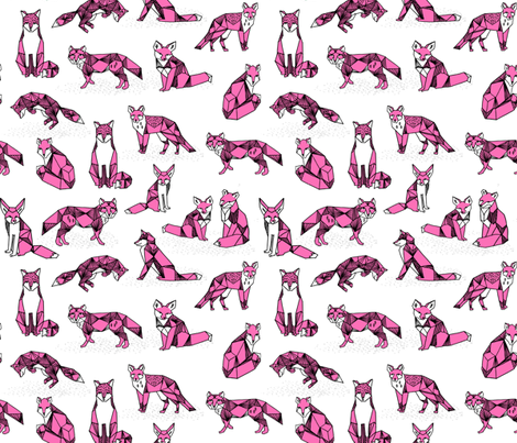 Fox pink foxes girls fox print white background kids for Fox print fabric