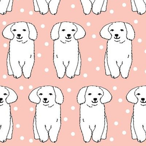 fluffy white puppy // pink cute girly polka dot dog design