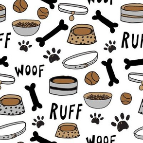 cute dog bowls // white bone, dog food, dog bowl, pet, pet design, pet illustration, cute dogs