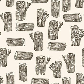 tree logs // forest woodland brown and white kids nursery baby