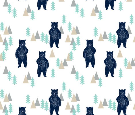 Forest bear navy mint grey kids room boys decor fabric for Grey childrens fabric