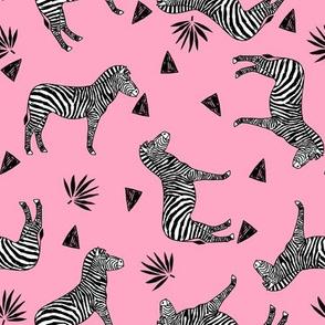 zebra // pink girls sweet black and white zoo animals africa triangles tropical